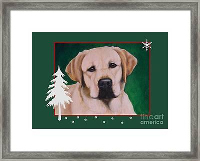 Yellow Labrador Portrait Christmas Framed Print