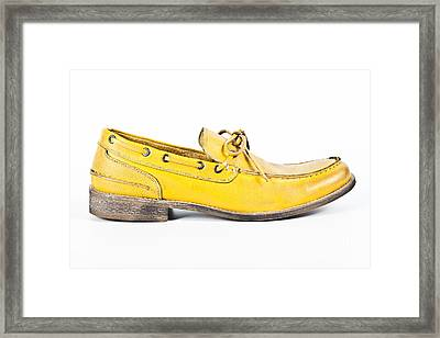 yellow Mens shoe Framed Print by Chavalit Kamolthamanon
