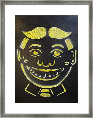 Yellow On Black Tillie Framed Print by Patricia Arroyo
