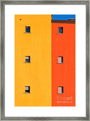 Yellow Orange Blue With Windows Framed Print