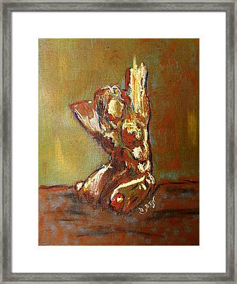 Yellow Orange Expressionist Nude Female Figure Statue Coming Alive Bold Anatomy Painting Framed Print