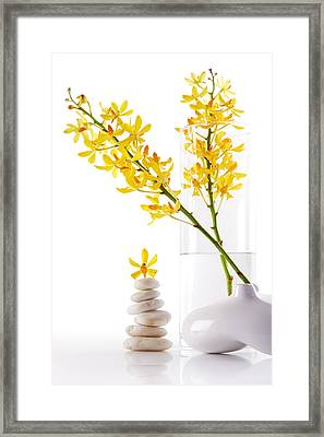 Yellow Orchid Bunchs Framed Print