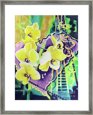 Yellow Orchids Of The Heart Framed Print by Kathy Braud