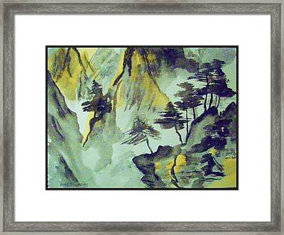 Yellow Orient Mountains Framed Print by Peggy Leyva Conley