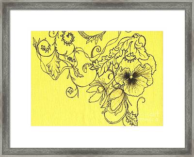 Yellow Pansy And Ladybug Framed Print