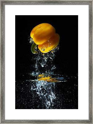 Yellow Pepper Escapes From Water Framed Print by Dung Ma