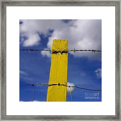 Yellow Post Framed Print by Bernard Jaubert