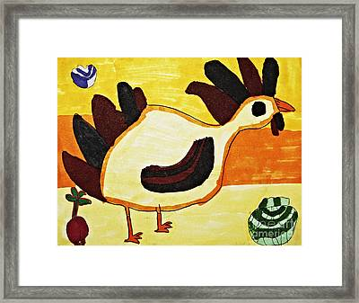 Yellow Rooster Still Framed Print by Stephanie Ward