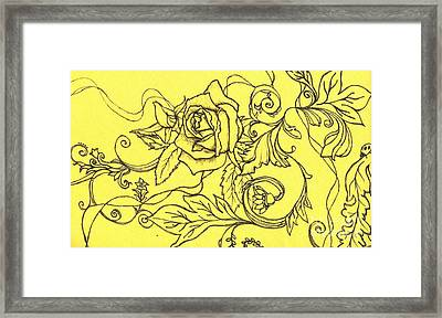 Yellow Rose And Ladybug Framed Print