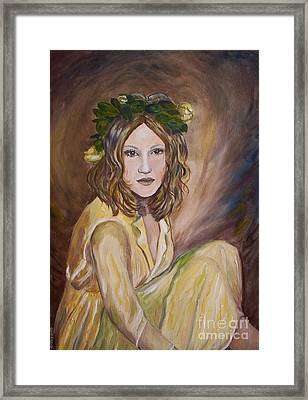 Framed Print featuring the painting Yellow Rose by Julie Brugh Riffey