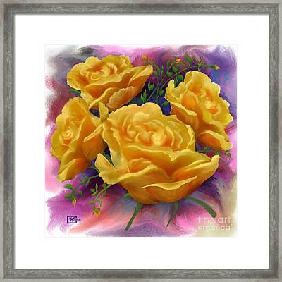 Yellow Roses Floral Art Framed Print by Judy Filarecki