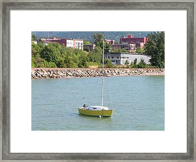Framed Print featuring the photograph Yellow Sailboat At Bellingham Bay by Rand Swift