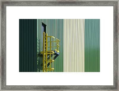 Yellow Staircase Of An Emergency Exit Framed Print