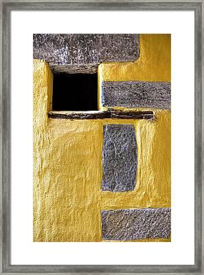 Yellow Stone Wall Framed Print by Joana Kruse