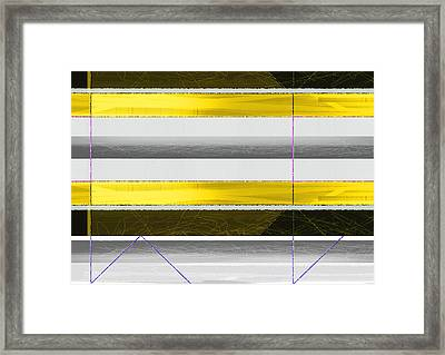Yellow Stripes Framed Print by Naxart Studio