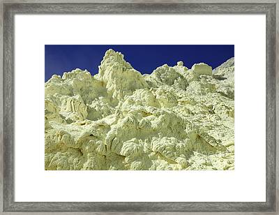 Yellow Sulphur Deposits Inside Crater Framed Print by Richard Roscoe