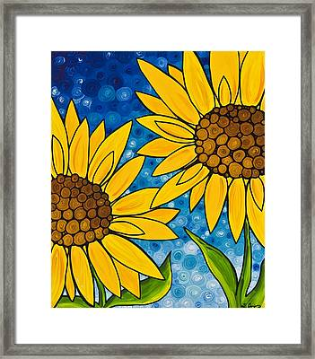 Yellow Sunflowers Framed Print by Sharon Cummings