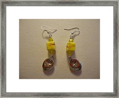 Yellow Swirl Follow Your Heart Earrings Framed Print by Jenna Green