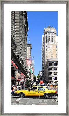 Yellow Taxicab Crossing Powell Street In San Francisco . 7d7259 Framed Print by Wingsdomain Art and Photography