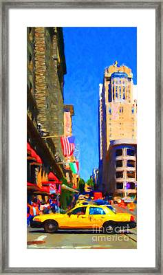 Yellow Taxicab Crossing Powell Street In San Francisco Framed Print by Wingsdomain Art and Photography
