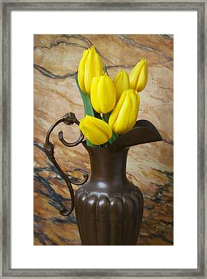 Yellow Tulips In Brass Vase Framed Print by Garry Gay