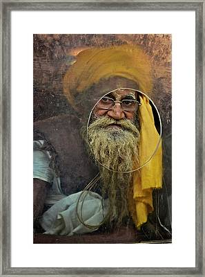 Yellow Turban At The Window Framed Print by Valerie Rosen