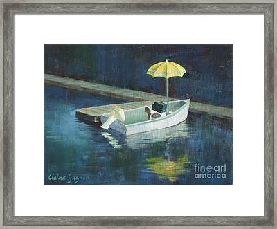 Yellow Umbrella Framed Print by Claire Gagnon