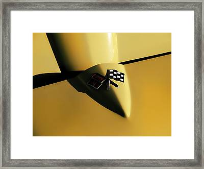 Yellow Vette Badge Framed Print by Douglas Pittman