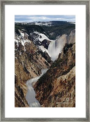 Framed Print featuring the photograph Yellowstone Falls by Dan Friend