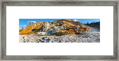 Yellowstone National Park - Mammoth Hot Springs - Panorama Framed Print by Gregory Dyer
