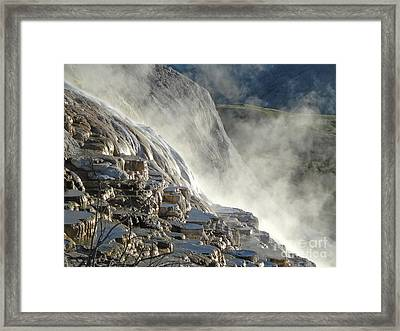 Yellowstone National Park - Minerva Terrace - Steam Framed Print by Gregory Dyer