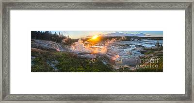 Yellowstone Norris Geyser Basin At Sunset Framed Print by Gregory Dyer