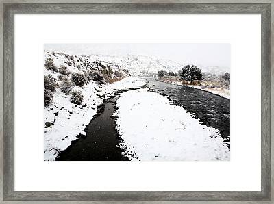 Yellowstone Park Wyoming Winter Snow Soda Butte Creek Framed Print by Mark Duffy