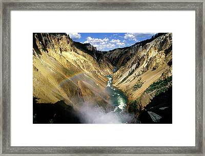 Yellowstone River Over The Falls Framed Print by John Brink