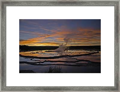 Yellowstone's Fountain Geyser Framed Print by Geraldine Alexander