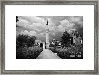yenicami mosque with the remains of the old gothic converted church in nicosia TRNC  Framed Print