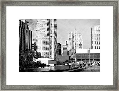 Yerba Buena Garden San Francisco . Black And White Photograph 7d3959 Framed Print by Wingsdomain Art and Photography