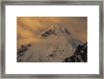 Yerupaja Summit Ridge 6617m At Sunset Framed Print by Colin Monteath