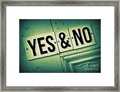 Yes And No 2 Framed Print by Perry Webster