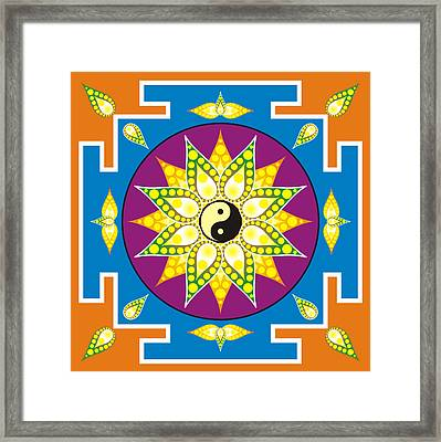 Yin Yang Mandala Framed Print by Steeve Dubois