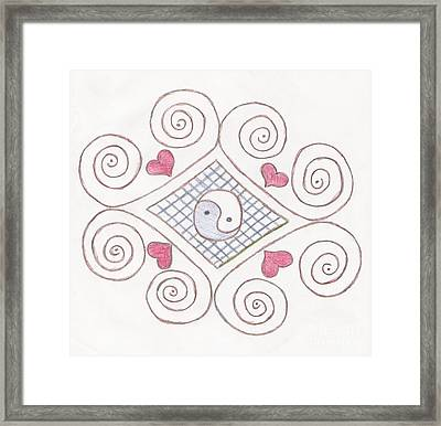 Yin Yang Swirls Pastel Framed Print by Jeannie Atwater Jordan Allen