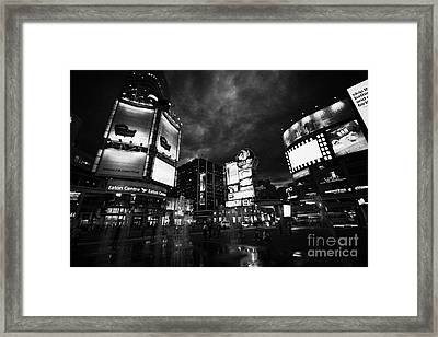 Yonge-dundas Square And The Eaton Centre At Night Toronto Ontario Canada Framed Print