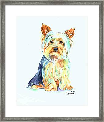 Yorkie Dog Portrait Framed Print
