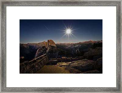 Yosemite National Park Half Dome Full Moon Framed Print by Scott McGuire