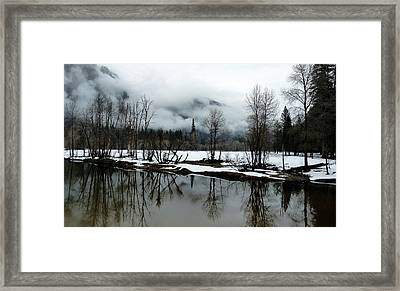 Yosemite River View In Snowy Winter Framed Print by Jeff Lowe