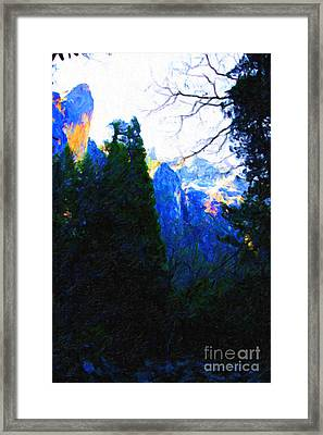 Yosemite Snow Mountain Tops . Vertical Cut Framed Print by Wingsdomain Art and Photography