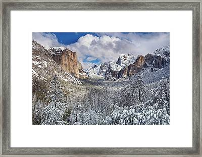 Yosemite Valley In Snow Framed Print