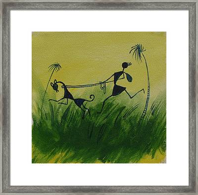 You En I In This Beautiful World Framed Print by Chintaman Rudra