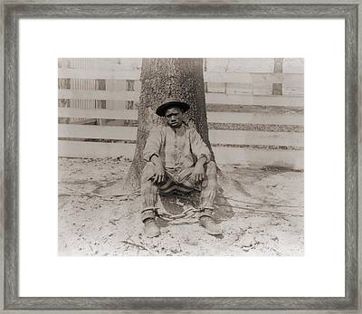 Young African American Sitting Framed Print by Everett