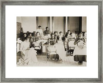Young African American Women Sewing Framed Print